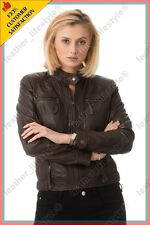 Women's Genuine Lambskin Leather Jacket Brown Slimfit Biker Motorcycle Jacket 49