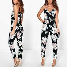 Women Sleeveless Floral Playsuit Boho Party Summer Romper Long Jumpsuit Trousers