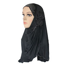 Cogongrass Muslim Hijab Islamic Scarf Woman Amira Cap Beautiful Drill Two Flower