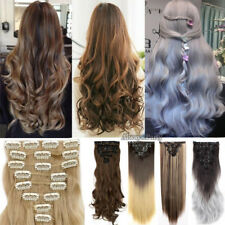 Natural New Hair Clip in Hair Extensions 8 Pcs Full Head Long As Human Hair PR6