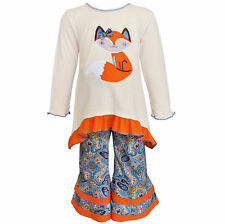 AnnLoren Girls Boutique Cream & Orange Fox Tunic and Pant Set 12/18 mo - 11/12