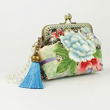 Collectable #0096 Handmade Japanese Peone Diamonte Clasp Coin Purse Bag Wallet
