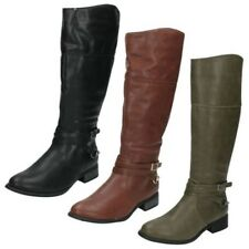 Ladies Spot On Zip Fastening Riding Equestrian Style Knee High Boot - F50159