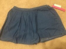 Tinseltown Juniors Shorts Chambray Skort Medium Wash, NWT, Elastic Waste Sz. S-L