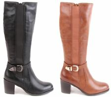 LADIES WOMENS KNEE HIGH STRETCH WIDE RIDING BOOTS LEG MID CALF BLOCK HEEL SIZE