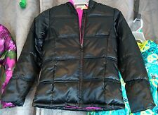 girls hooded black puff winter coat Faded Glory  pink fleece lined Large 10/12