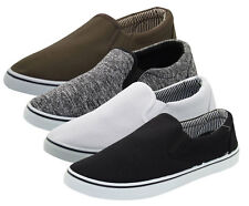 Mens Slip On Canvas Shoes Comfortable Casual Deck Plimsoll Slider Pumps Trainer