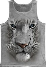 White Tiger Face Animal Unisex Adult Tank Top The Mountain