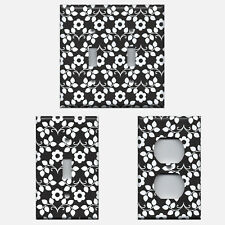 Black and White Retro Floral Light Switch Plates and Wall Outlet Covers