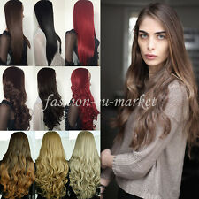 Womens Half Head Wig Long Straight OMBRE 3/4 Weave Brown Blonde Black Hair Wigs