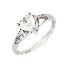 925 Sterling Silver White Synthetic Cubic Zirconia 3-Prong Heart Faceted Ring