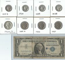 US Coin Lot with Silver coins, Silver Certificate and Buffalo Nickels