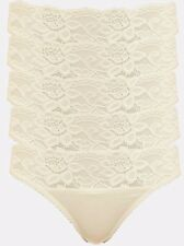 NEW M&S Marks 5 Pack CREAM Low Rise Lace Bikini Knickers Size 14 RRP £12.50