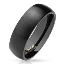 Dome Ring Made of Stainless Steel in Black Matt and Polished Different Sizes