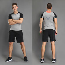 Mens Compression Shirt Base Layer Tight Tops Sports T-Shirts Athletic Wear Fast