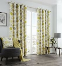 PRINTED FLORAL LEAF GREEN GREY CREAM LINED ANNEAU TOP CURTAINS 8 SIZES