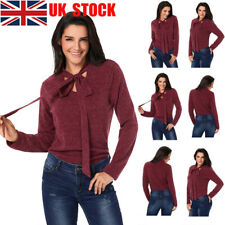 UK Women Bow Tie V-Neck Tops Long Sleeve Blouse Lace Up Pullover Autumn T Shirt