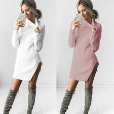 Sweater Dress Split Dress Ladies Knitted Sweater Womens Turtleneck Jumper