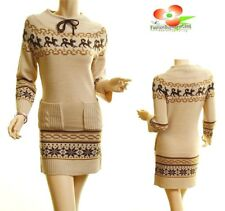 Haute BOHO Beige Knit Ribbed Hem Xmas Snowflake Sweater Dress Tunic Top S M L