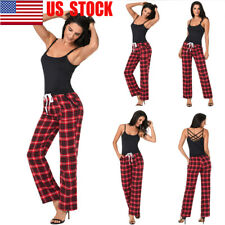 US Women's Wide Leg Check Plaid High Waist Long Loose Casual Pants Yoga Trousers