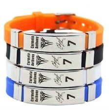 Carmelo Anthony Basketball Bracelet Silicone Stainless Steel adjustabl Wristband