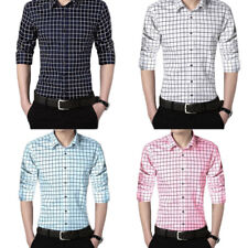 Men's Shirts 1Pcs Long sleeves Casual shirt plaid shirt Solid color
