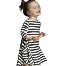 Casual  Children Girl Clothes Winter Black And White Striped Dress Clothing