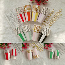 Birthday Wedding Colorful 8pcs Paper Cups Supplies Tableware Disposable Party