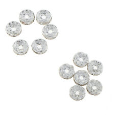 100Pcs Silver Rhinestone Metal Loose Spacer Beads for DIY Handcrafts Jewelry