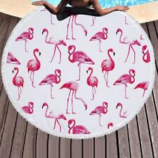 Cute Large Round Beach Towel Microfiber Tablecloth Picnic Mat Pineapple Flamingo