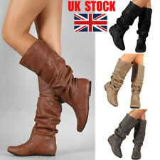 UK Women Casual Comfy Mid Calf Knee High Boots Round Toe Slouch Flats Shoes Size