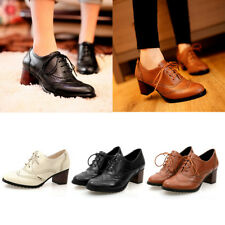 Women Pointy Toe Lace Up Strappy Punk  Boots Block Heel Casual Spring Shoes Size