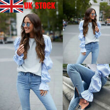 UK Women's Puff Long Flared Sleeve Tops Casual Blouse Work Shirts Party T-Shirts