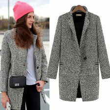 Wool Cashmere Coat Womens Lapel Long Overcoat Trench Jacket