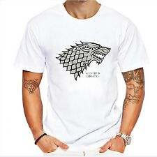 Game of Thrones T Shirt Winterfell Wolf Stark Cotton Tee shirt Winter Is Coming