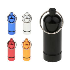 Waterproof Capsule Aluminum Pill Box Case Bottle Holder Keychain Container