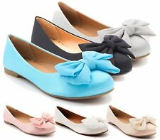 BALLERINA WOMENS FLAT SLIP ON PLAIN SATIN BOW BALLET PUMPS GIRLS SCHOOL SHOES