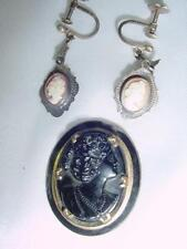 Victorian Hand Carved Shell GF Cameo Earrings & Black Hard Stone Brooch Lot#1809
