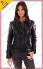 Women's Genuine Lambskin Leather Quilted Slim fit Designer Biker Jacket WN052