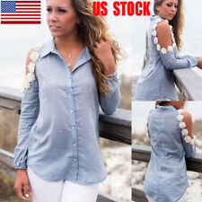 Womens Flower Cold Shoulder Button Down Shirt Long Sleeve Tops Spring Blouse US