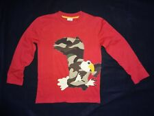 Mini Boden RED camo camouflage HAWK eagle APPLIQUE tee LONG-SLV t-SHIRT 5 6 BOYS