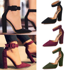 Womens Chunky Block High Heels Sandals Buckle Pumps Pointed Toe Party Shoes Size