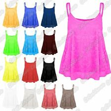 New Ladies Sleeveless Full Floral Lace Mesh Camisole Cami Flare Strappy Vest Top