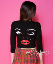 Betsey Johnson Sweater Crop Cardigan Marilyn Wink Face Black