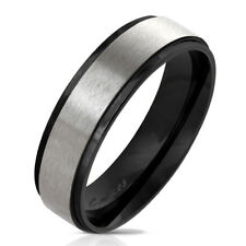 Finger Ring Made of Stainless Steel in Black with Brushed finish. Center