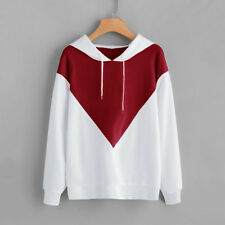 Hoodie Stitching Color Hot Women Tops Hooded Casual Fashion Long Sleeve Pullover