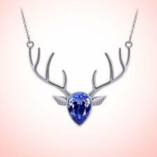 Christmas ELK Crystal Pendant Beauty Necklace Charm Chain Jewelry Access Gifts