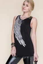 SeXy VoCal Crystals Stones Angel Wings Black Tunic Tank Top Shirt S M L XL
