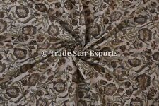 Ethnic Hand Block Print Natural Indian Cotton Voile Floral Fabric by the Yard