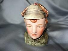 "ANTIQUE FIGURAL MAJOLICA TOBACCO HUMIDOR 5 1/4"" TALL"